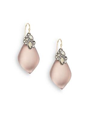 Lucite & Crystal Teardrop Earrings
