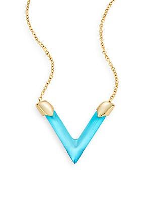 Lucite V Pendant Necklace