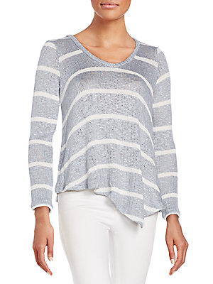 Striped Knit Asymmetrical Top