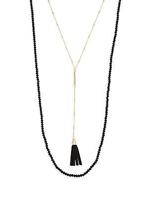 Beaded Y-Drop Suede Tassel Necklace