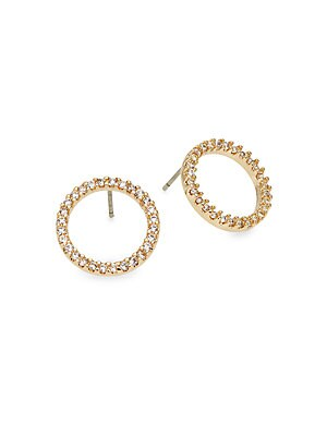 Pave Circle Stud Earrings