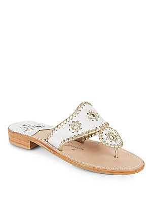 Whipstich Leather Thong Slide Sandals