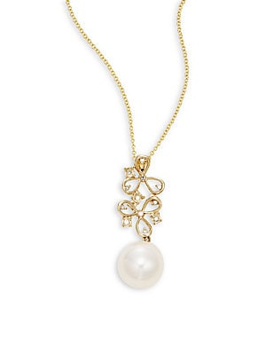 Click here for Diamond, 8.5MM Pearl & 14K Yellow Gold Pendant Nec... prices