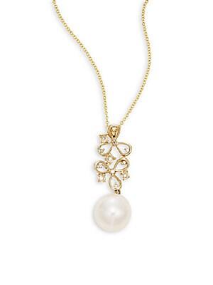 Diamond, 8.5MM Pearl & 14K Yellow Gold Pendant Necklace