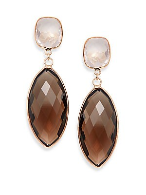 Rose Quartz, Smoky Quartz & 14K Rose Gold Drop Earrings