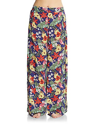 Floral Print Wide-Leg Pants