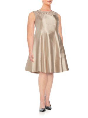 Kristen Lace-Detail Cotton  Silk Dress Lafayette 148 New York, Plus Size