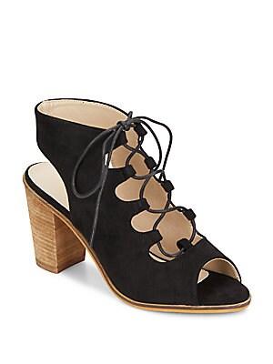 Lace-Up Faux Suede Sandals