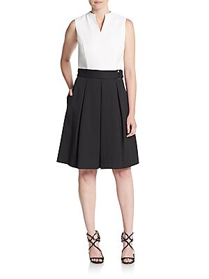 Belted Colorblock Fit-&-Flare Dress