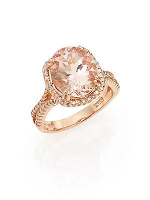 Diamond, Morganite & 14K Rose Gold Ring