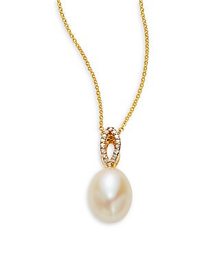 9MM Pearl & 14K Yellow Gold Pendant Necklace