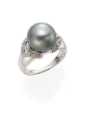 11.5MM Round Gray Tahitian Freshwater Pearl & 14K White Gold Ring