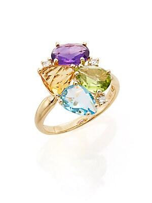 Effy Amethyst, Blue Topaz, Citrine, Peridot, Diamond & 14K Yellow Gold Ring