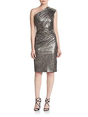 Beaded One-Shoulder Foiled Jersey Dress
