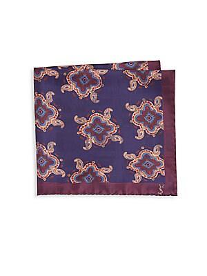 Double Paisley Silk Pocket Square