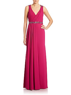 Beaded Crepe Cowl-Back Gown