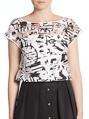 Surrealist Printed Fil Coupe Crop Top
