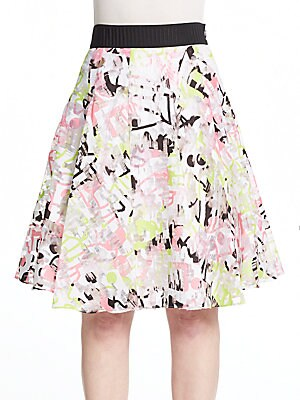 Surrealist Printed Fil Coupe Skirt