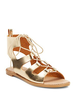 Guess Who Metallic Lace-Up Sandals