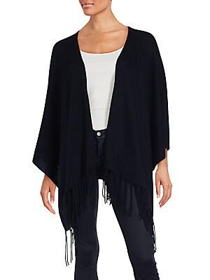 saks fifth avenue blue female 188971 wool cashmere fringed poncho