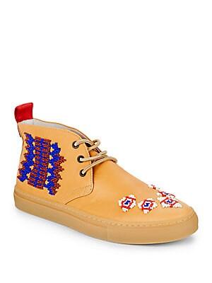 Beaded Leather Chukka Boots