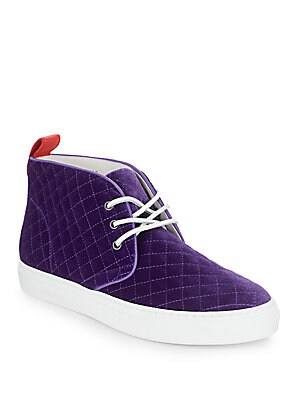 Quilted Velvet High-Top Sneakers