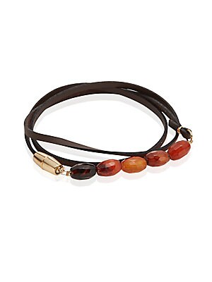 Agate Leather Wrap Bracelet