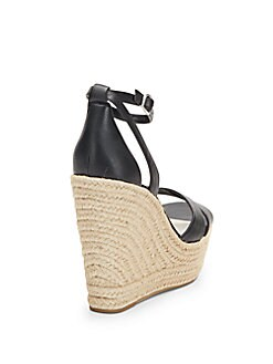Holly Leather Espadrille Wedge Sandals