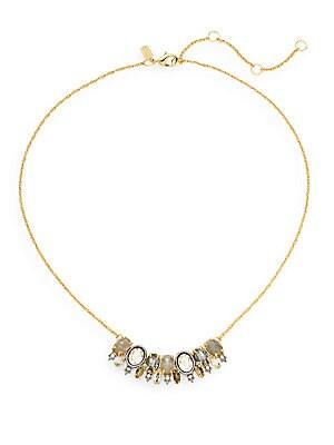 Elements Punk Labradorite, Pyrite & Crystal Seven-Oval Pendant Necklace