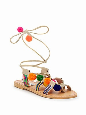 Pom Pom Ankle Wrap Sandals