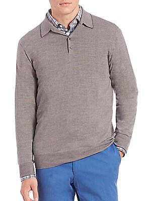 Long-Sleeve Merino Wool Polo