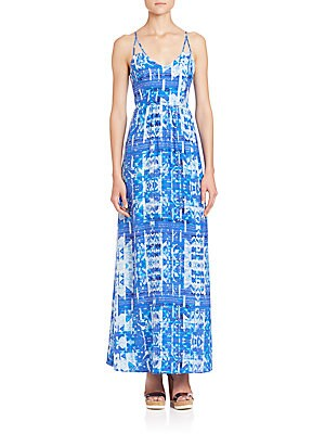 Kisa Silk Print Maxi Dress