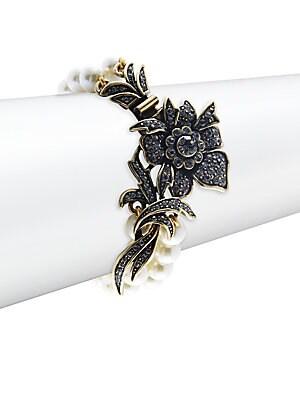Fancy Floral Faux Pearl Bracelet