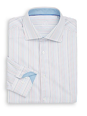 Shaped-Fit Striped Cotton Dress Shirt