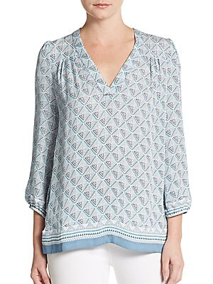 Jesslyn Geo-Print Silk Top