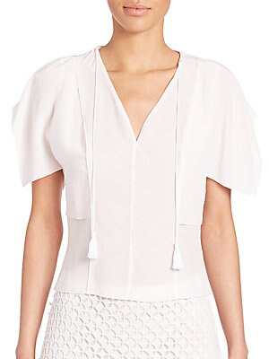 Brielle Silk Cold-Shoulder Top