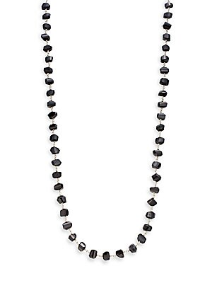 Classic Strand Black Agate & Sterling Silver Necklace