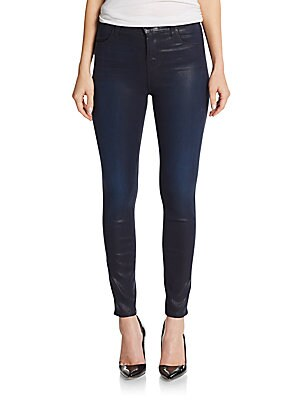 Mid-Rise Coated Super Skinny Jeans