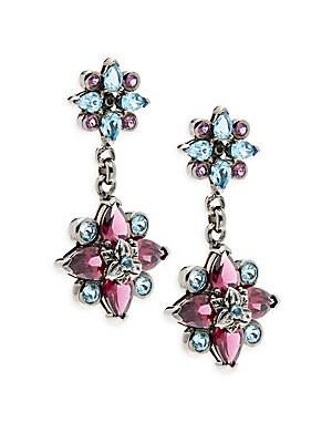 Toledo Rhodolite Garnet, Blue Topaz & Sterling Silver Flower Drop Earrings