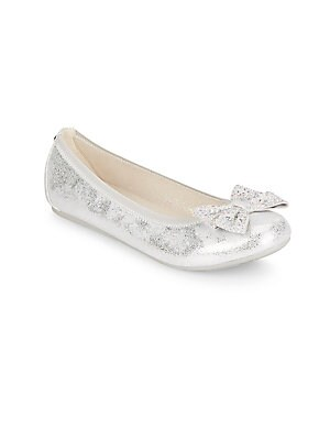 Girl's Fannie Jeweled-Bow Metallic Ballet Flats