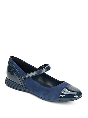Bria Grand Suede & Patent Leather Mary Jane Flats