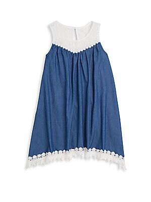 Girl's Crochet-Trim Chambray Dress