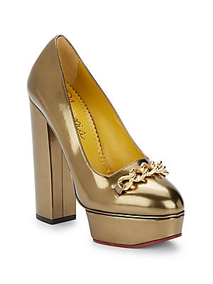 Agate Metallic Leather Platform Pumps