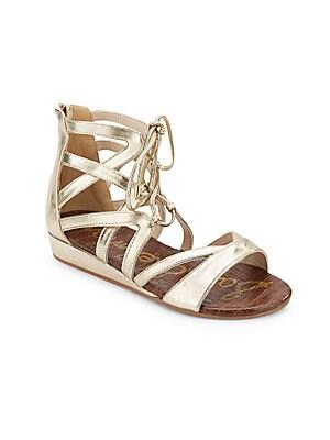 Girl's Danica Lace-Up Metallic Sandals