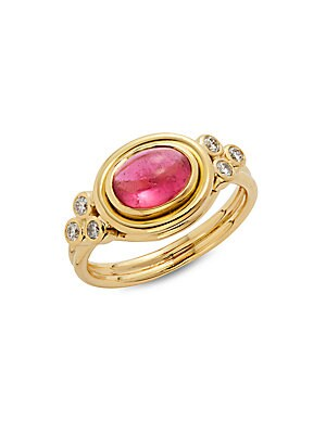Pink Tourmaline, Diamond & 18K Yellow Gold Horizontal Ring