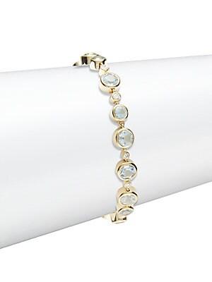 Aquamarine, Diamond & 18K Yellow Gold Bracelet