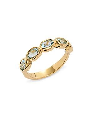 Aquamarine & 18K Yellow gold Half Eternity Ring