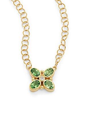 Tsavorite, Diamond & 18K Yellow Gold Quadrifoglio Necklace