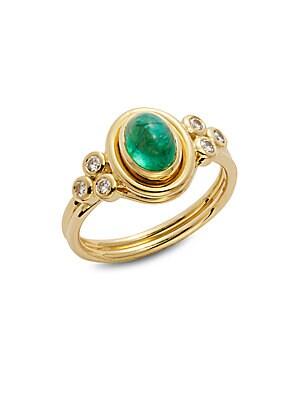 Emerald, Diamond & 18K Yellow Gold Oval Ring