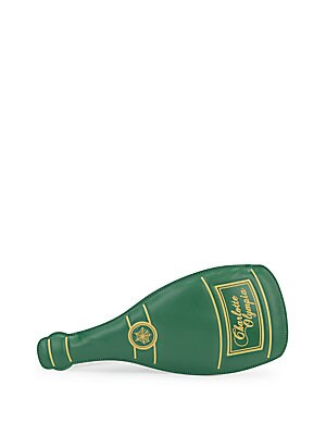 Champagne Bottle Leather Wristlet